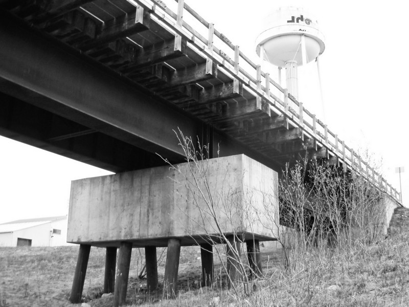 Railroad bridge and water tower