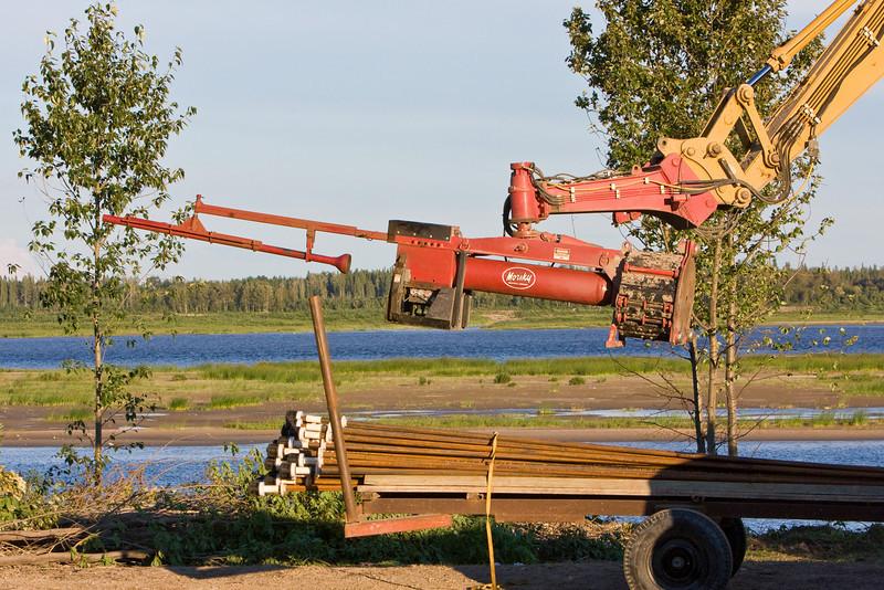 Soil nailing along the Moose River in Moosonee, Ontario 2008 August 13.