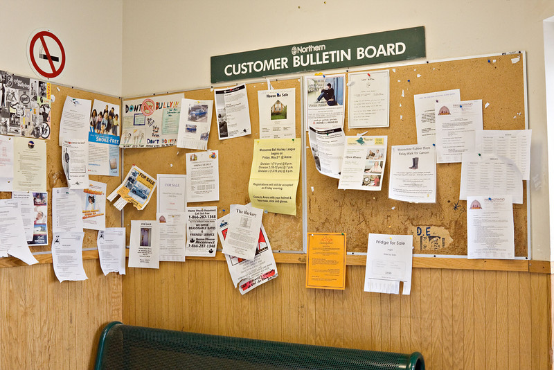 Northern Bulletin Board - in a small town store bulletin boards are an important source of information