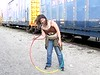 Twirling hula hoop at the train station 2008 June 27. Krista Vick