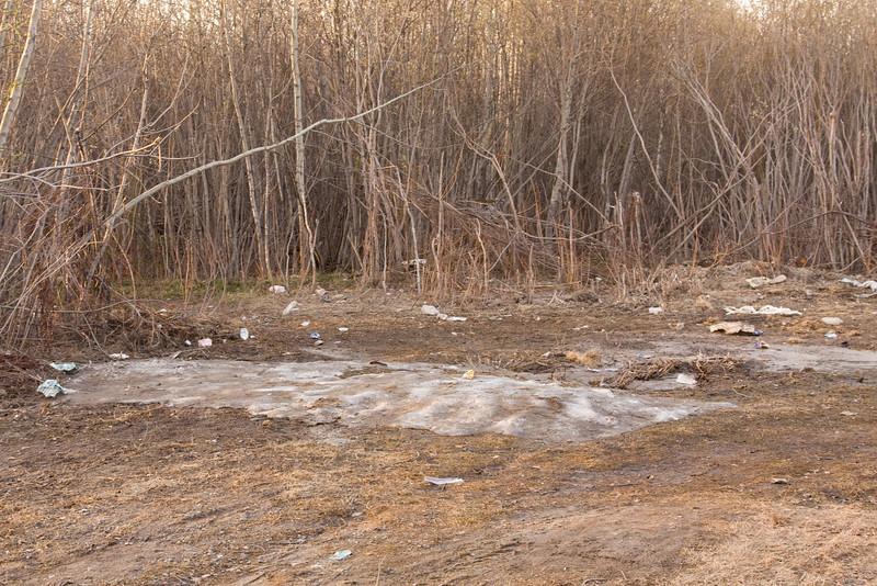 Remants of a pile of snow near JBEC apartments in Moosonee May 24, 2008.