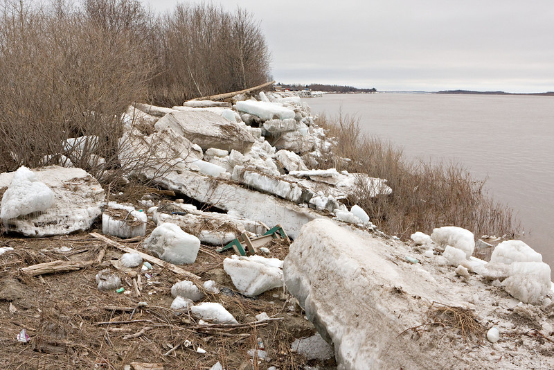 Shore ice as seen from near Moosonee Pentecostal Church
