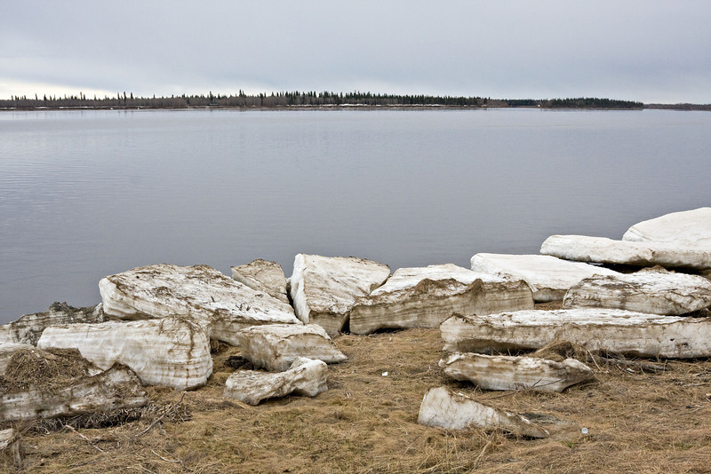 Ice along the shore of the Moose River in Moosonee, Ontario on May 5, 2008