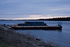 Predawn view of barges anchored at Moosonee