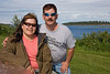 Bertha Linklater and John Ploughman along the river bank in Moosonee, Ontario