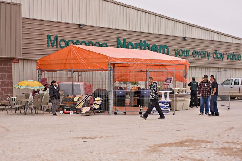 Outdoor garden centre at Northern Store in Moosonee