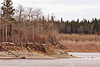 South end of Butler Island in the Moose River across from Moosonee, showing impact of spring breakup ice
