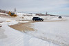 2010 December 29: Bottom of McCauley's Hill in Moosonee, the winter road to Moose Factory.
