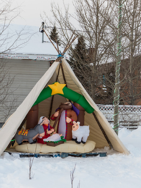 Inflatable Nativity at Moosonee Pentecostal Church Manse.