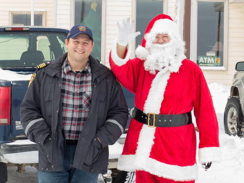 Santa Claus outside Polar Beaar Lodge.