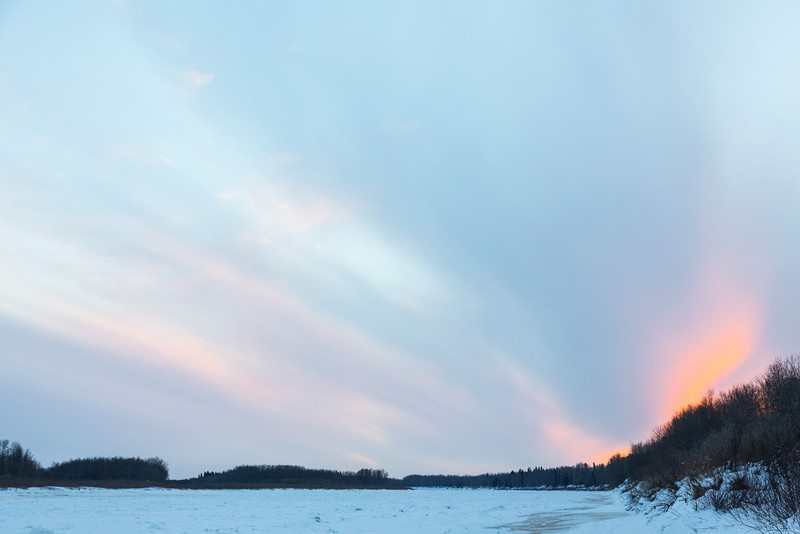 Looking up the Moose River around sunset from Moosonee.
