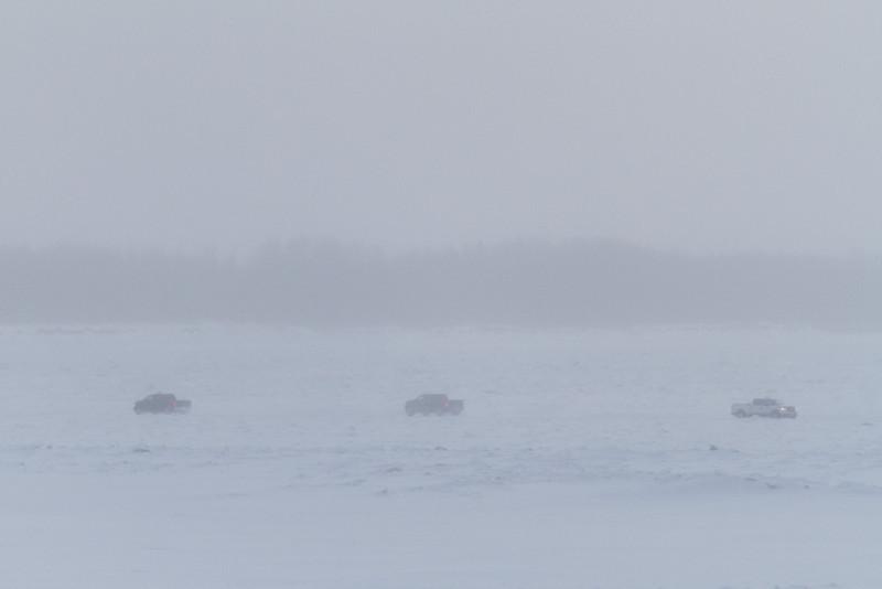 Traffic on the Moose River between Moose Factory and Moosonee.