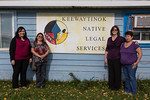 Maureen Armstrong, chair of the Criminal Injuries Compensation Board of Ontario (second from right) in Moosonee at Keewaytinok Native Legal Services with Kathryn Hookimawillene, Pauline Sack ...