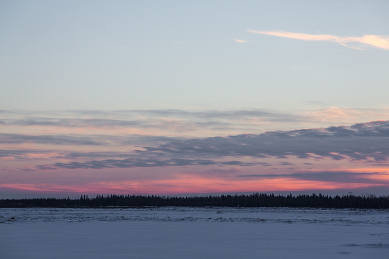 Looking across the Moose River from Moosonee after sunrise.