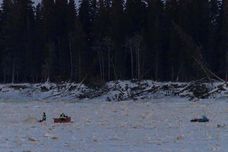 Acitivity out on the ice in front of Butler iIsland across from Moosonee.