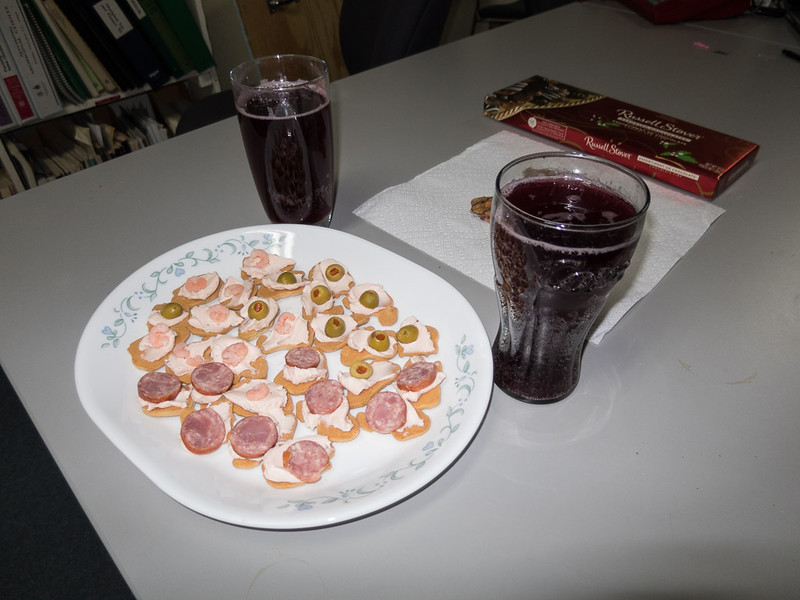 Treats and grape juice punch for New Year's.