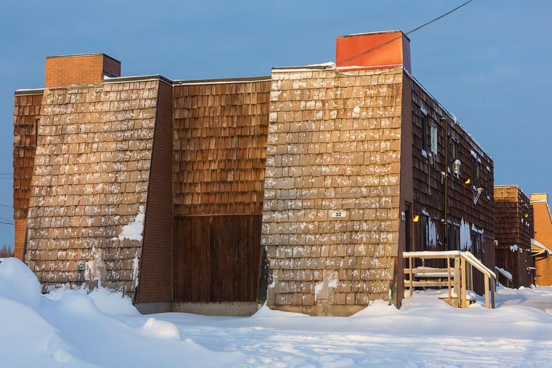 End of JBEC apartments in Moosonee.