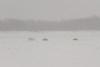 Vehicles on winter road across the Moose River between Moosonee and Moose Factory.