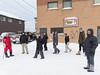 Visitors from Moose Factory on First Street in Moosonee.