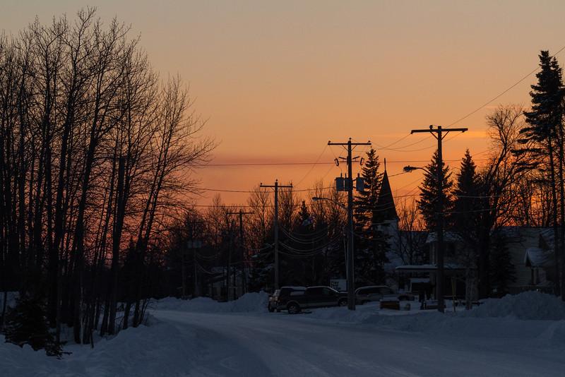 Looking up Revillon Road in Moosonee around sunset.