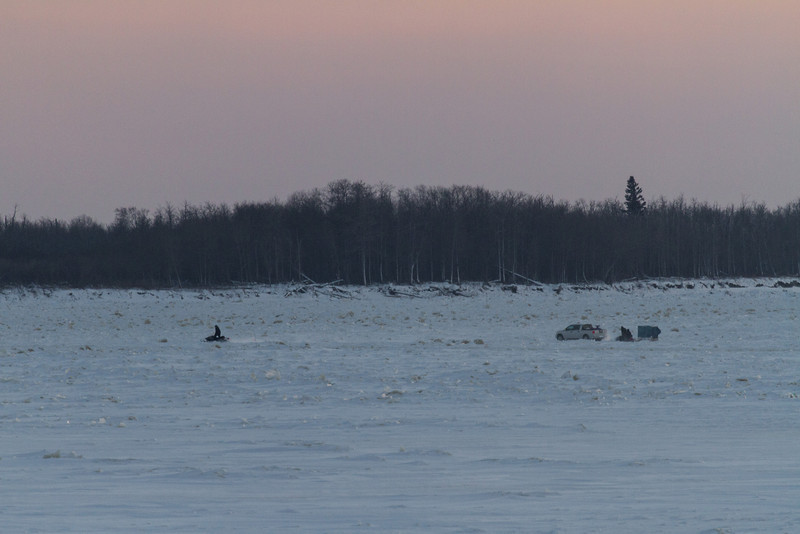Traffic on the Moose River at Moosonee.