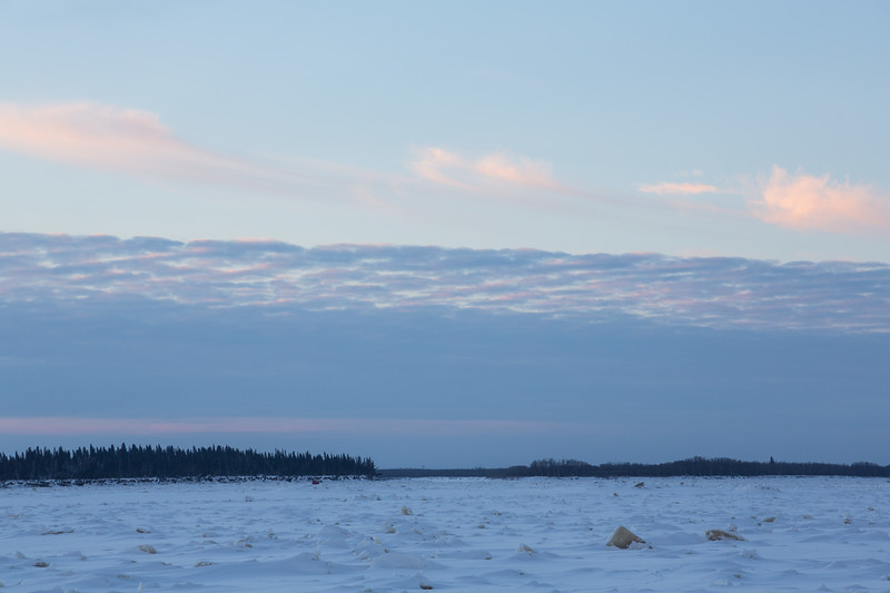 Looking towards south end of Butler Island from Moosonee. Rough surface.