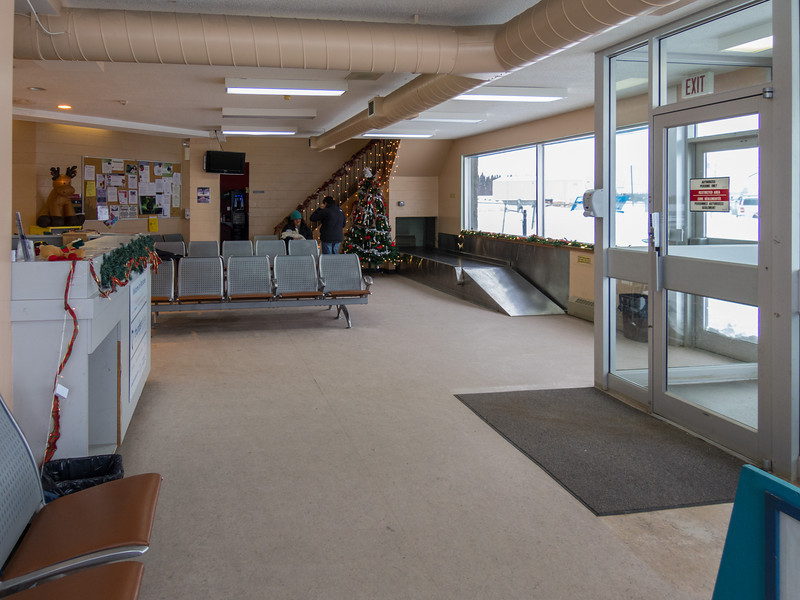 Moosonee Airport Christmas Day 2013 before arrival of flight from Timmins.