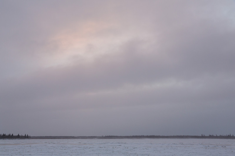 Bit of colour high in the sky across the Moose River from Moosonee.