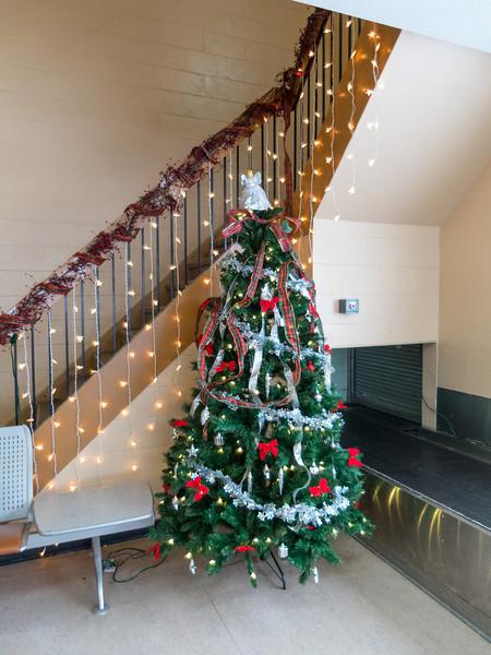 Tree and decorations at Moosonee Airport.