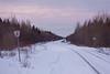 Looking down tracks from Moosonee around sunrise.