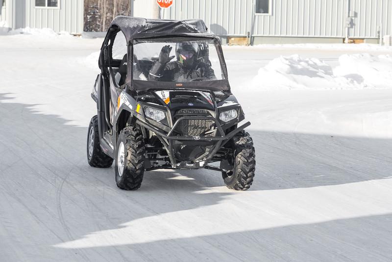 Polaris all terrain vehicle on First Street in Moosonee.