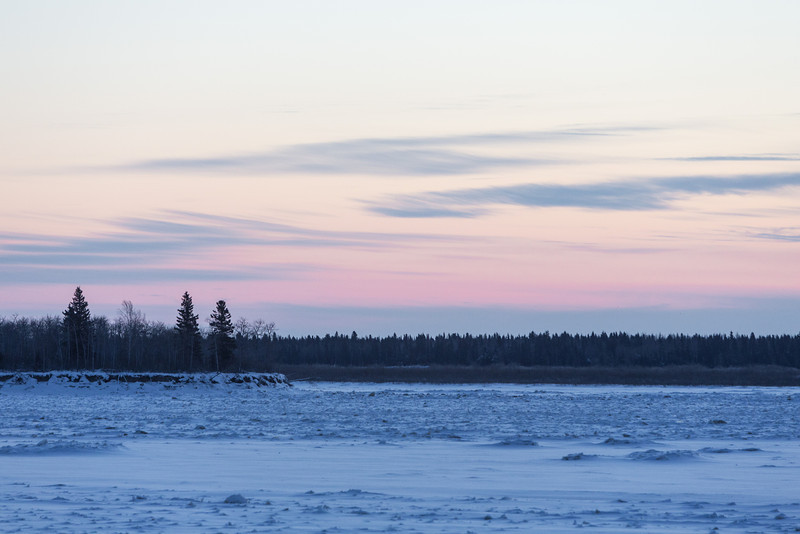 South end of Butler Island across the Moose River from Moosonee before dawn.