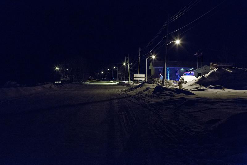 Revillon Road in Moosonee looking towards downtown.