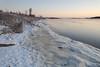 Moose River shoreline in Moosonee looking down river from Two Bay docks.