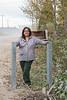 Denise Lantz by barriers near start of Atim Road over Store Creek in Moosonee.