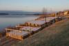 Light coating of frost on Two Bay docks on shore in Moosonee.