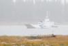 Barge Niska I heading back to Moosonee on a wet and foggy day.