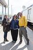 Jill Johns and Denize Lantz with Jack Williams at Moosonee Train Station.