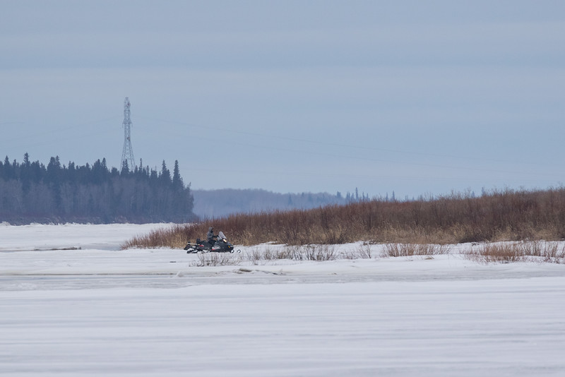 Snowmobile on the Moose River 2016 April 29th.