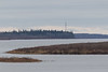 Looking up the Moose River towards hydro towers.