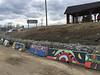 Artwork on concrete barriers at public docks in Moosonee.