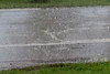 Heavy rain hitting Revillon Road in Moosonee.