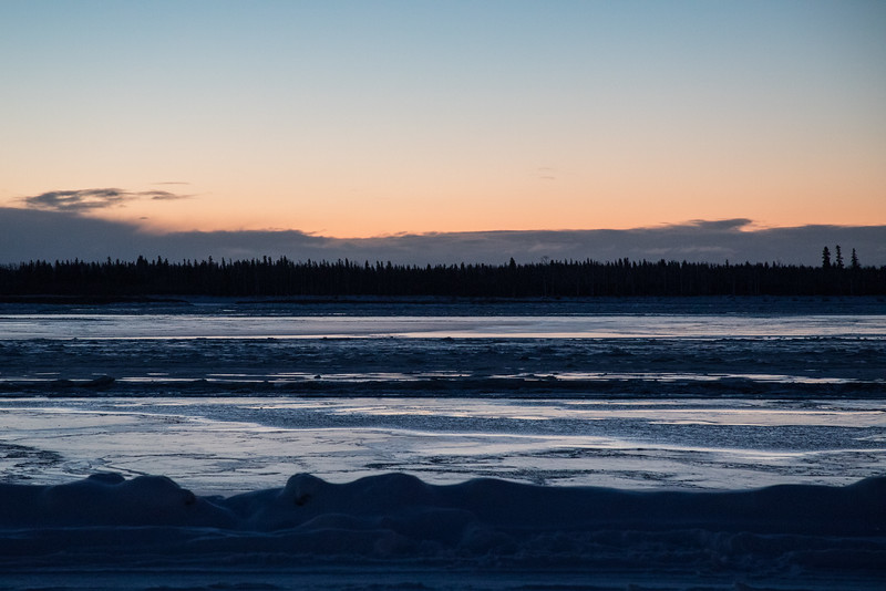 Looking across the Moose River before sunrise 2016 December 9th. Looks to be still some water.