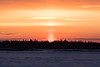 Almost sunrise. Bright light shows where the sun will rise.