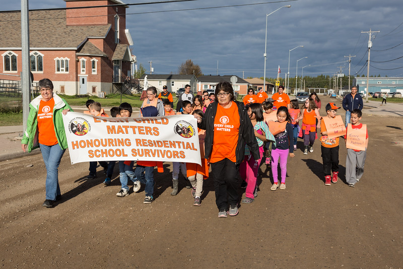 "Moosonee March in Honour of Residential School Students. ""Every Child Matters""."
