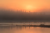 Sunrise at Moosonee on a foggy morning looking towards Butler Island 2016 September 30th.
