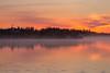 Log fog down the Moose River before sunrise at Moosonee.