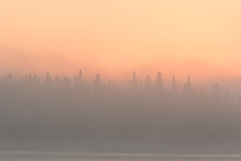 Looking across the Moose River on a foggy morning before sunset 2016 September 30th.