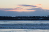 View towards Moose Factory from Moosonee around sunrise.