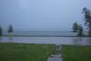 Heavy rain in thunderstorm.